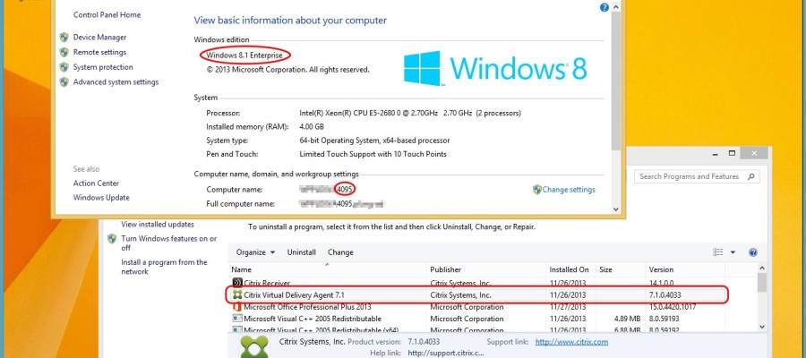 Windows 8.1 via XenDesktop 5.6 FP1