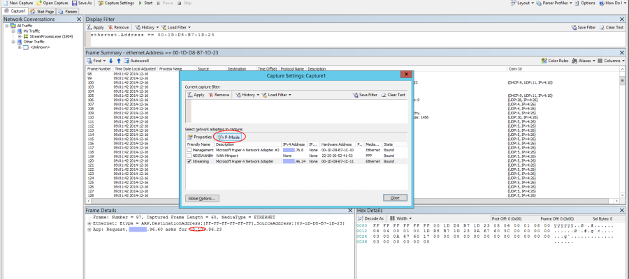 Sniff network traffic from PVS server to Target Device on Hyper-V host