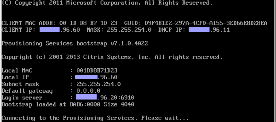 Citrix PVS – Target Device boot process troubleshooting